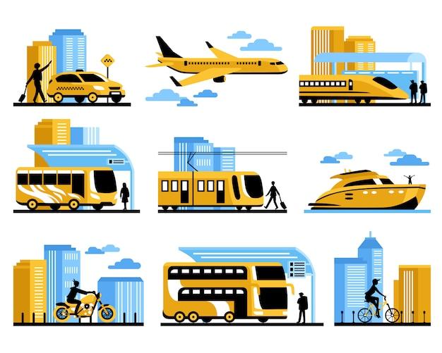 Reisende leute lokalisierten dekorative ikonen eingestellt