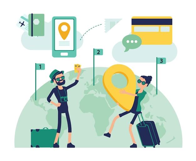 Reisende machen eine reise