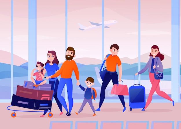 Reisende mit gepäck innerhalb des flughafens, der an vom fenster mit fliegenflugzeug errichtet