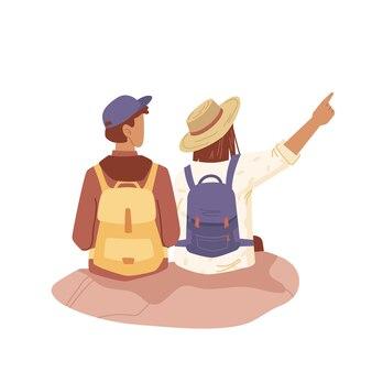 Reisende suchen fernpaar mit rucksäcken
