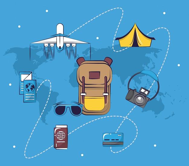 Reisender aufregender reisesammlungs-kartenhintergrund des tourismus