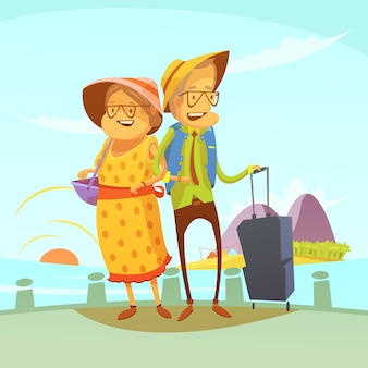 Reisender hintergrund der älteren paare