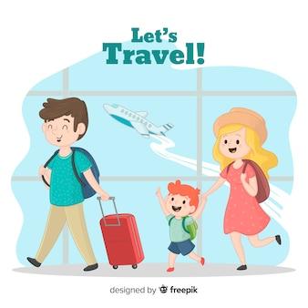 Reisender hintergrund der familie
