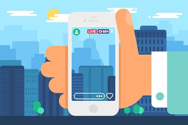 Reisender live-stream-konzept-vektor-illustration. reiseblogger, der eine online-sendung über die stadt aufzeichnet. smartphone in der hand halbflache farbzeichnung