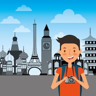 Reisender mann mit kamera und verschiedenen monumenten der welt
