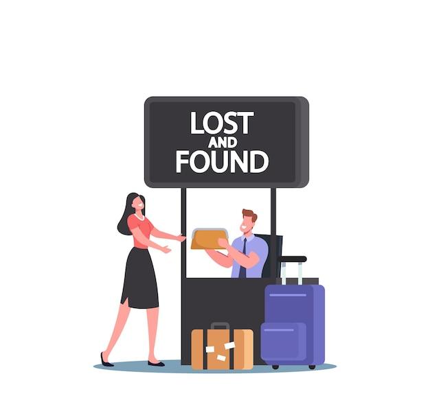 Reisender weiblicher charakter holen sie sich ihre tasche im büro für verlorenes und gefundenes gepäck am flughafen. glücklicher passagier verliert gepäck. frau erhält kupplung vom arbeiter im servicestand. cartoon-menschen-vektor-illustration
