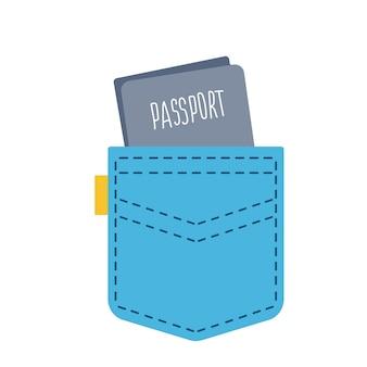 Reisepass lugt aus einer bluejeans-tasche. bereit zu reisen. vektorillustration im cartoon-stil. isolierte cliparts auf weißem hintergrund spaß