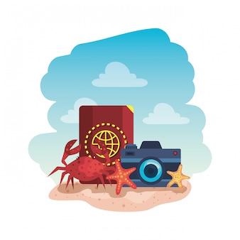 Reisepass mit fotoapparat und krabbe