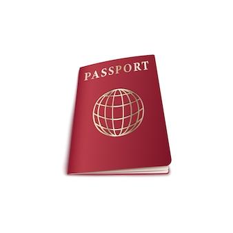 Reisepass mit globuszeichen auf roter abdeckung draufsicht, realistisch. ausweis touristen dokument für grenzübergang.
