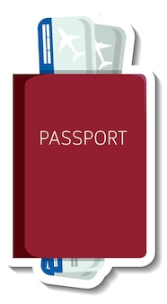 Reisepass mit karten-cartoon-aufkleber