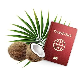 Reisepass mit kokosnüssen und einem palmzweig.