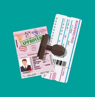 Reisepass mit visumstempel, bordkarte