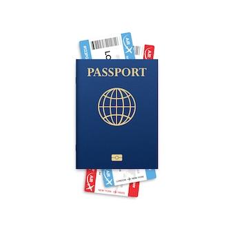 Reisepass . reisen. staatsbürgerschaftsausweis für reisen. flugzeugbordkarte lokalisiert auf weiß.