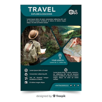 Reiseplakat / flyer vorlage mit foto