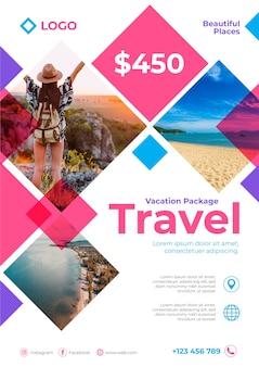 Reiseplakat mit details und foto