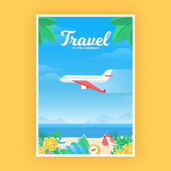Reiseplakat mit flugzeug über dem strand