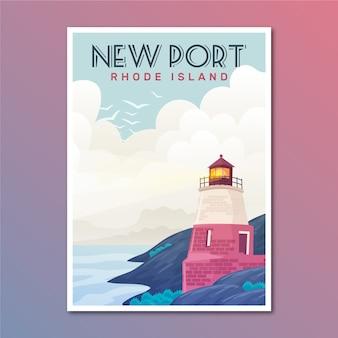 Reiseplakat mit neuem hafen illustriert