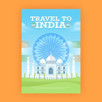 Reiseplakat mit taj mahal indien