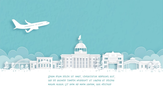 Reiseplakat mit willkommen in alabama, das berühmte wahrzeichen der vereinigten staaten von amerika im papierschnittstil