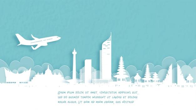 Reiseplakat mit willkommen in indonesien