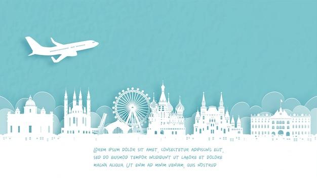 Reiseplakat mit willkommen in moskau, russland