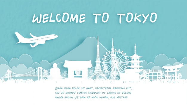 Reiseplakat mit willkommen in tokio, japan