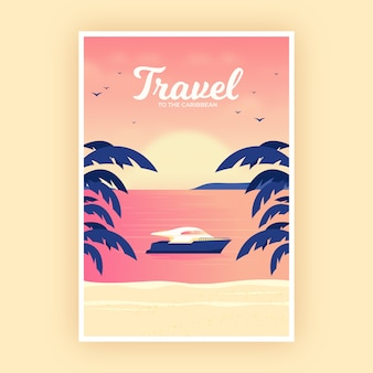 Reiseplakat mit yacht