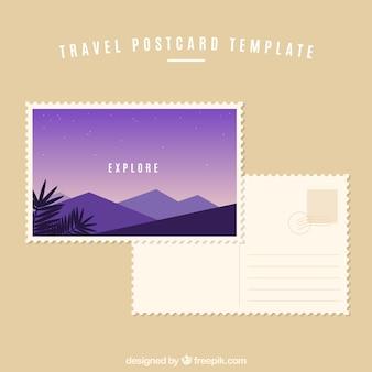 Reisepostkarte im flachen design