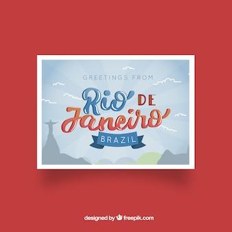 Reisepostkarte mit gezeichnetem stil rio de janeiro in der hand