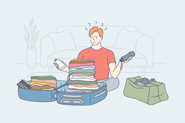 Reiseproblem, das urlaubsgedankenkonzept wandert.