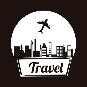 Reiserahmen über schwarzer hintergrundvektorillustration