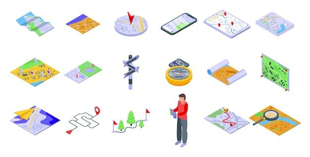 Reiseroute festgelegt. isometrischer satz der reiseroute für webdesign lokalisiert auf weißem hintergrund