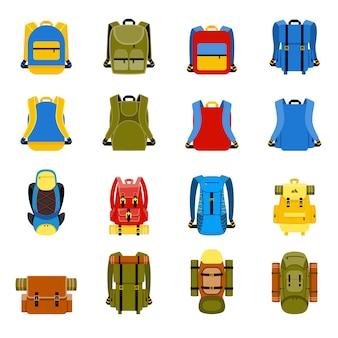 Reiserucksack, campingrucksack und schultasche. reisen, tourismus und gepäck