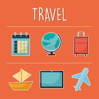 Reiseschrift mit bündel von reisesymbolen Premium Vektoren
