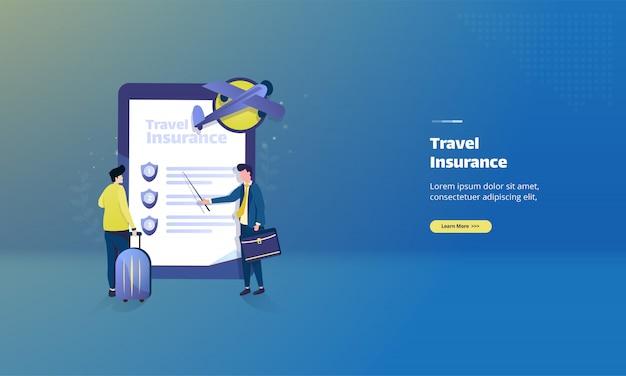 Reiseschutzversicherung auf illustrationskonzept