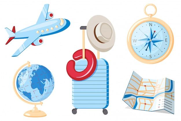 Reiseset. kompass, globus, karte, koffer und flugzeug. flaches design.