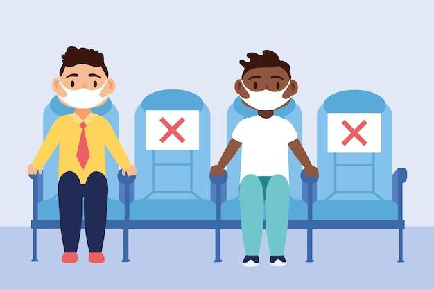 Reisesicherheitskampagne mit den passagieren, die medizinische masken sitzen, die im vektorillustrationsdesign der stühle sitzen