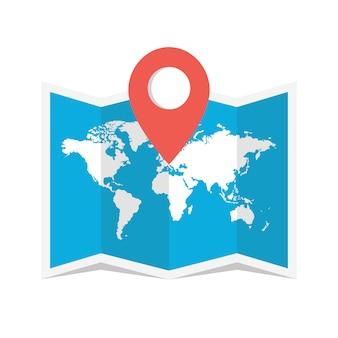 Reisestiftposition auf einer globalen karte
