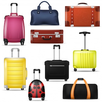 Reisetasche realistische gepäckkoffer für reise urlaub tourismus illustration satz von reisegepäck und tour abenteuer fall oder handtasche für touristen isoliert auf weißem hintergrund