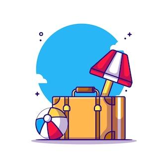 Reisetasche und strandball-cartoon-illustration