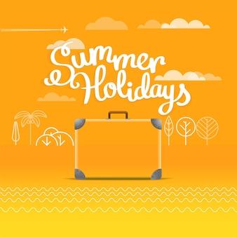 Reisetasche-vektor-illustration. sommerferienkonzept