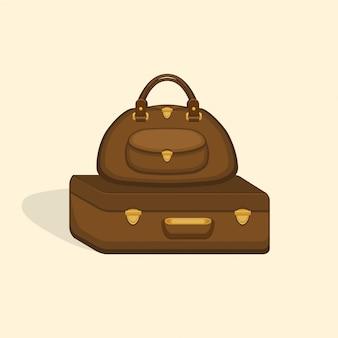 Reisetaschen koffer mit schatten.