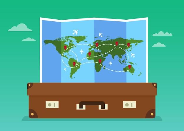 Reisetaschen und gefaltete weltkarte