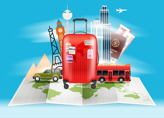 Reisetaschenillustration. urlaubskonzept mit roter tasche