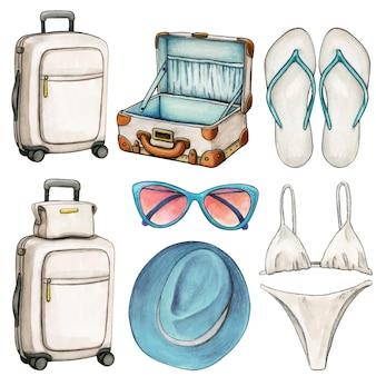 Reisethemenikonen mit koffern und zubehör