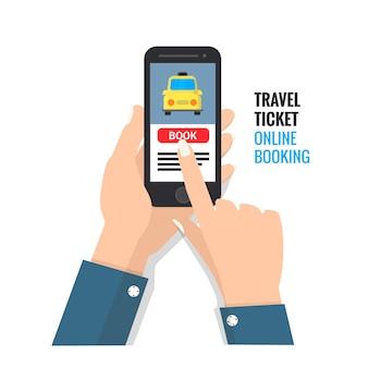 Reiseticket online-buchungs-design für handy