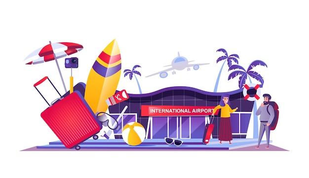 Reiseurlaub webkonzept im cartoon-stil