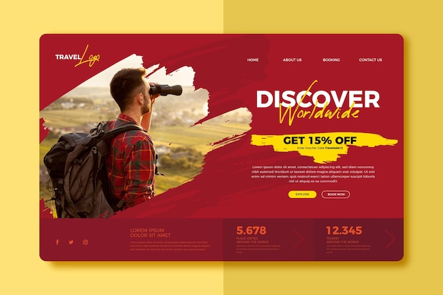 Reiseverkauf landingpage vorlage mit foto