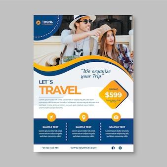 Reiseverkaufs-flyer-vorlage mit foto with