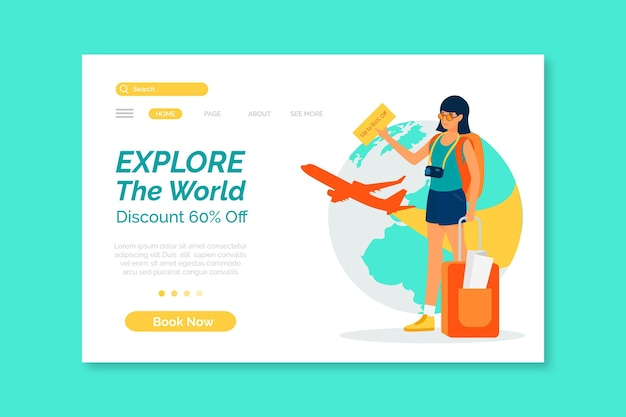 Reiseverkaufs-homepage-vorlage illustriert